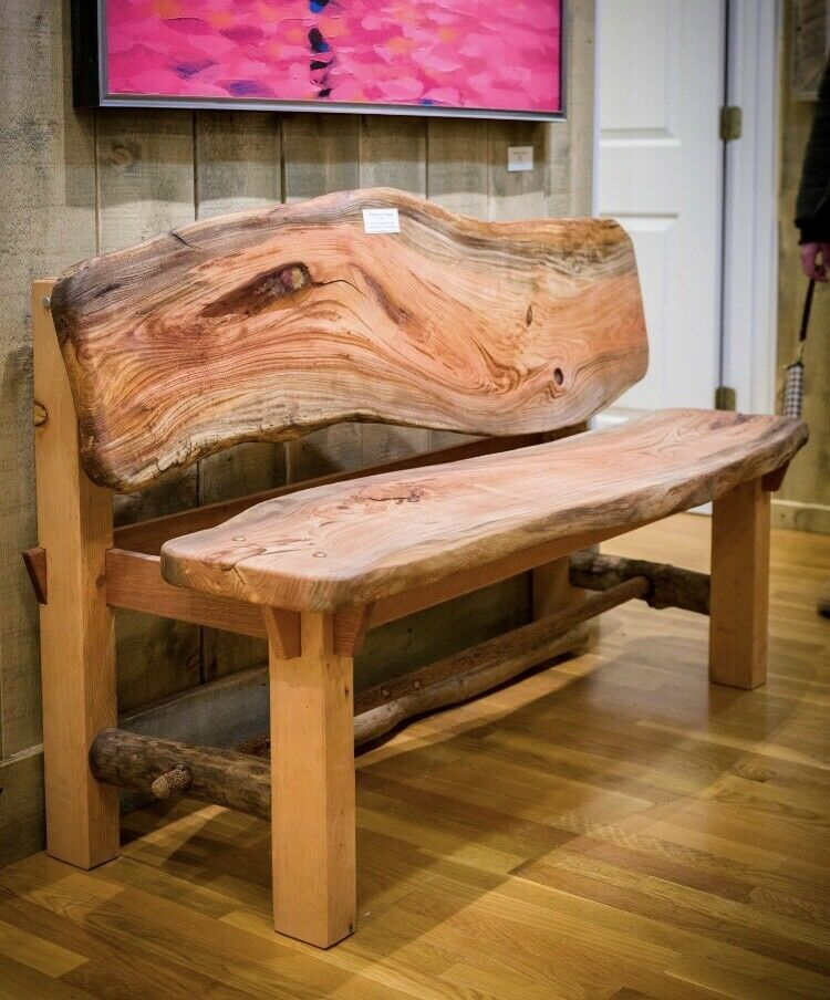 Rustic Pine Bench Live Edge Wood Furniture Diy Wood Bench Rustic Wood Bench