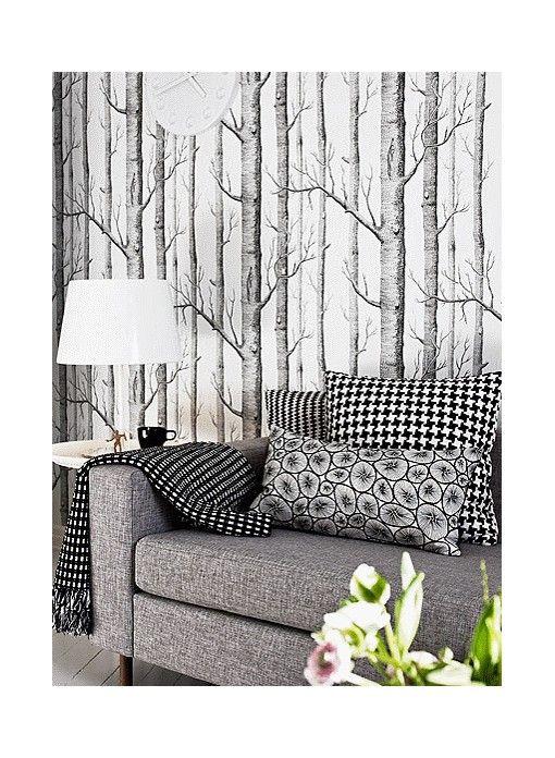papier peint woods noir et blanc de cole and son | revêtements