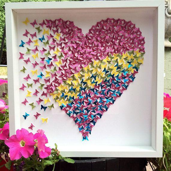 3D paper butterflies wall art| 3D paper art | Pink yellow ...
