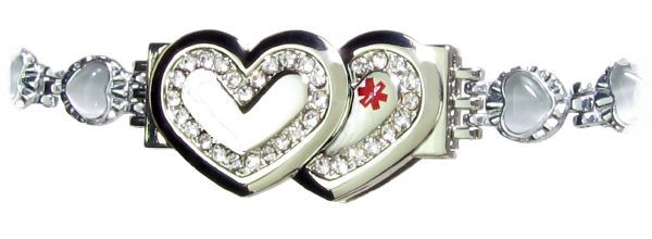 Glittering Double Heart Medical Usb Bracelet With White Stones