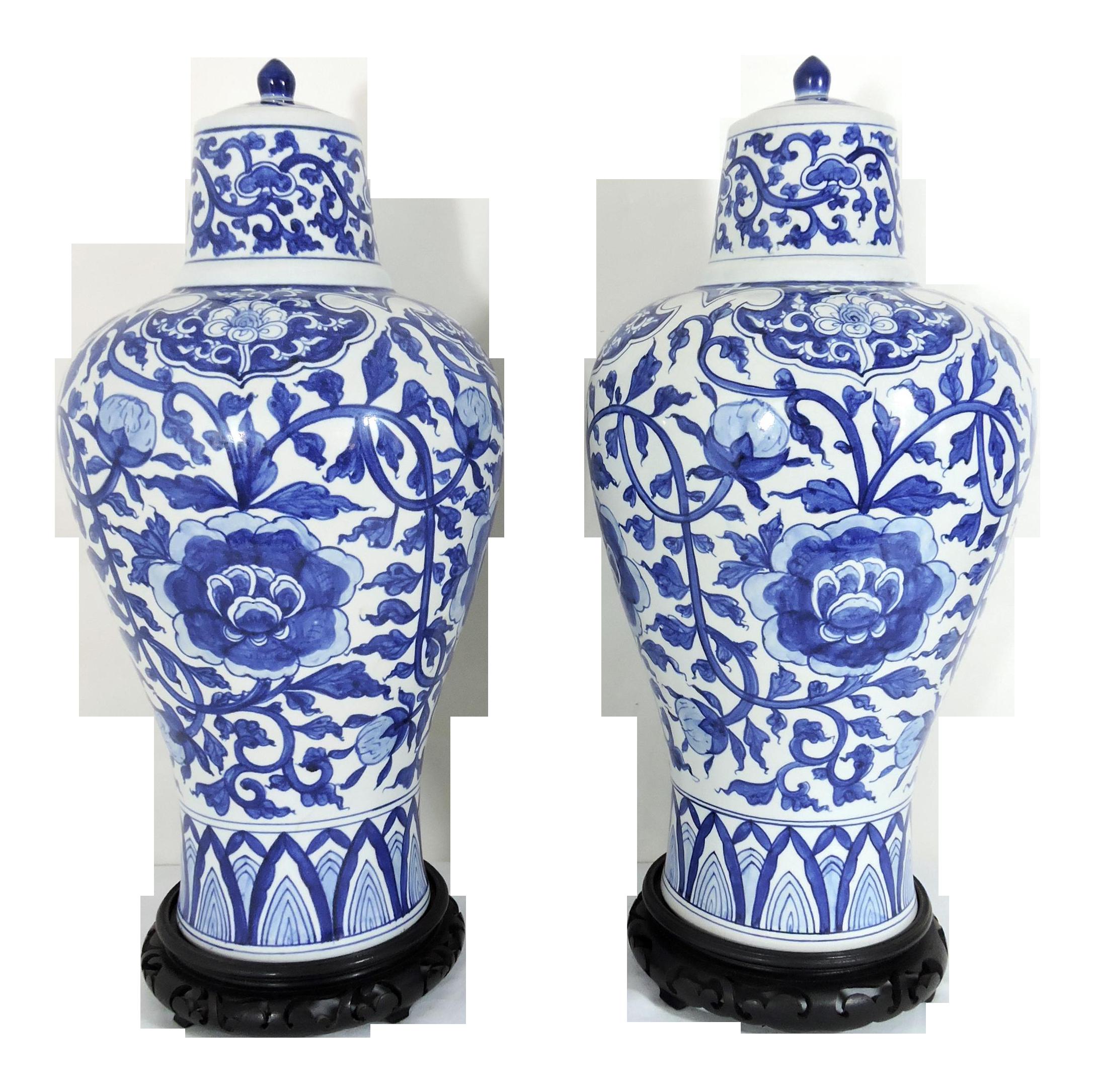 Large Vintage Chinese Blue And White Porcelain Flower Vases Urns