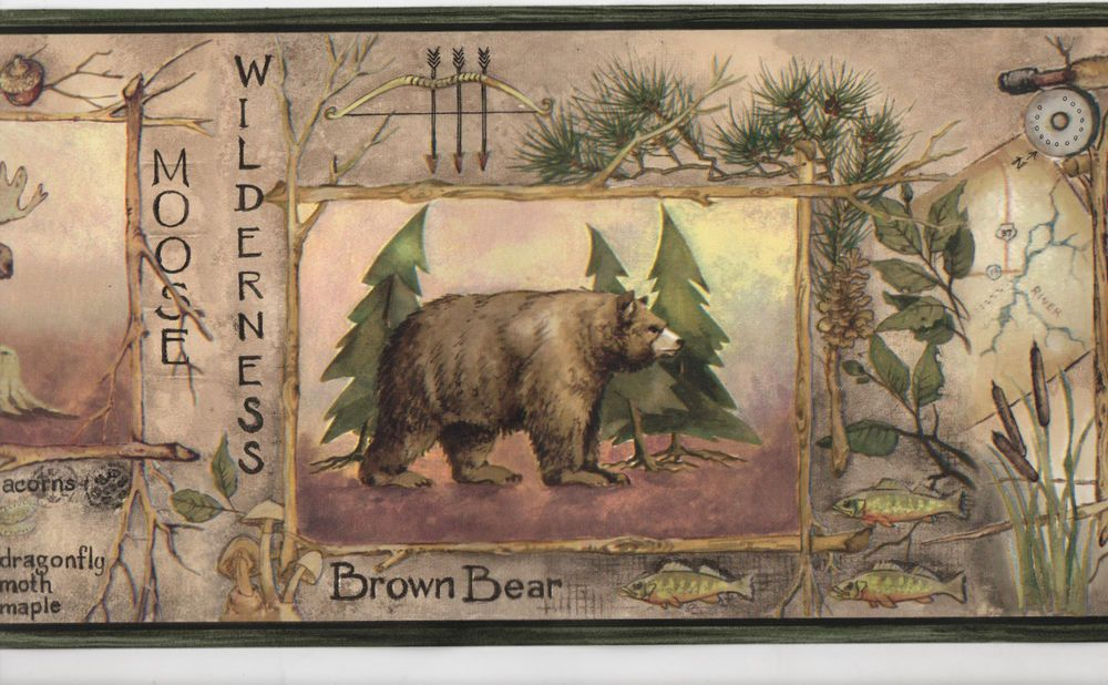 Animals Framed In Sticks Wallpaper Wall Border Rustic Country Lodge Cabin Decor Rustic Wallpaper Wallpaper Border Wall Wallpaper