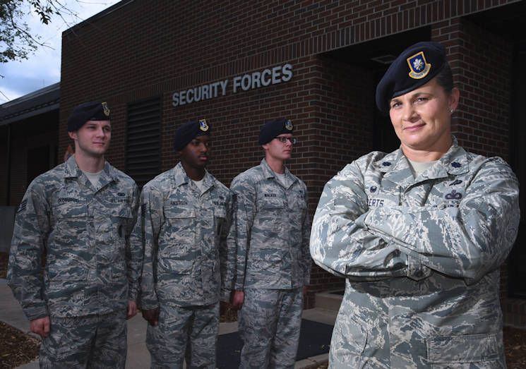 Air Force Lt Col Nicole Roberts 21st Security Forces Squadron Commander Accelerated Through The Enlisted And Officer Ranks Air Force Women Airman Air Force