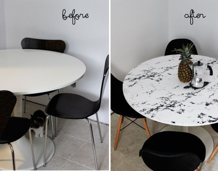 Diy Faux Marble Table Top Kitchen Table Makeover Kitchen Table Marble Diy Marble Table