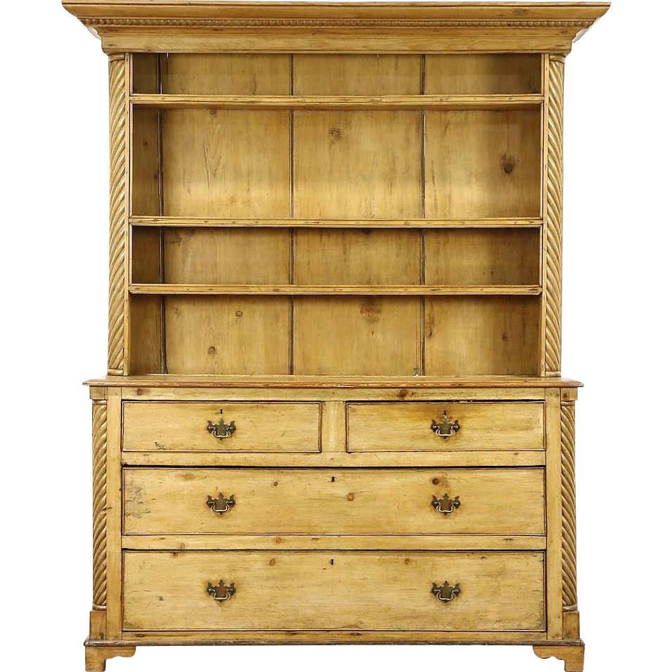 Country Pine 1860 S Antique Sideboard Pewter Cupboard