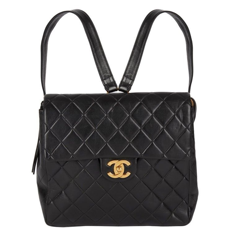 1995 Chanel Black Quilted Lambskin Vintage Classic Timeless Backpack Products In 2019 Black Leather Backpack Chanel Backpack Leather Backpack