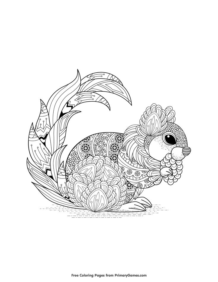 Fall Coloring Page Zentangle Squirrel