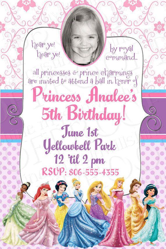 Disney Princess Birthday Invitations By Mysunwillshinedesign 10 00