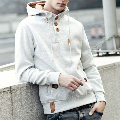 71e4c13a Drawstring Hooded PU-Leather Splicing Button Embellished Long Sleeve Men's  Hoodie