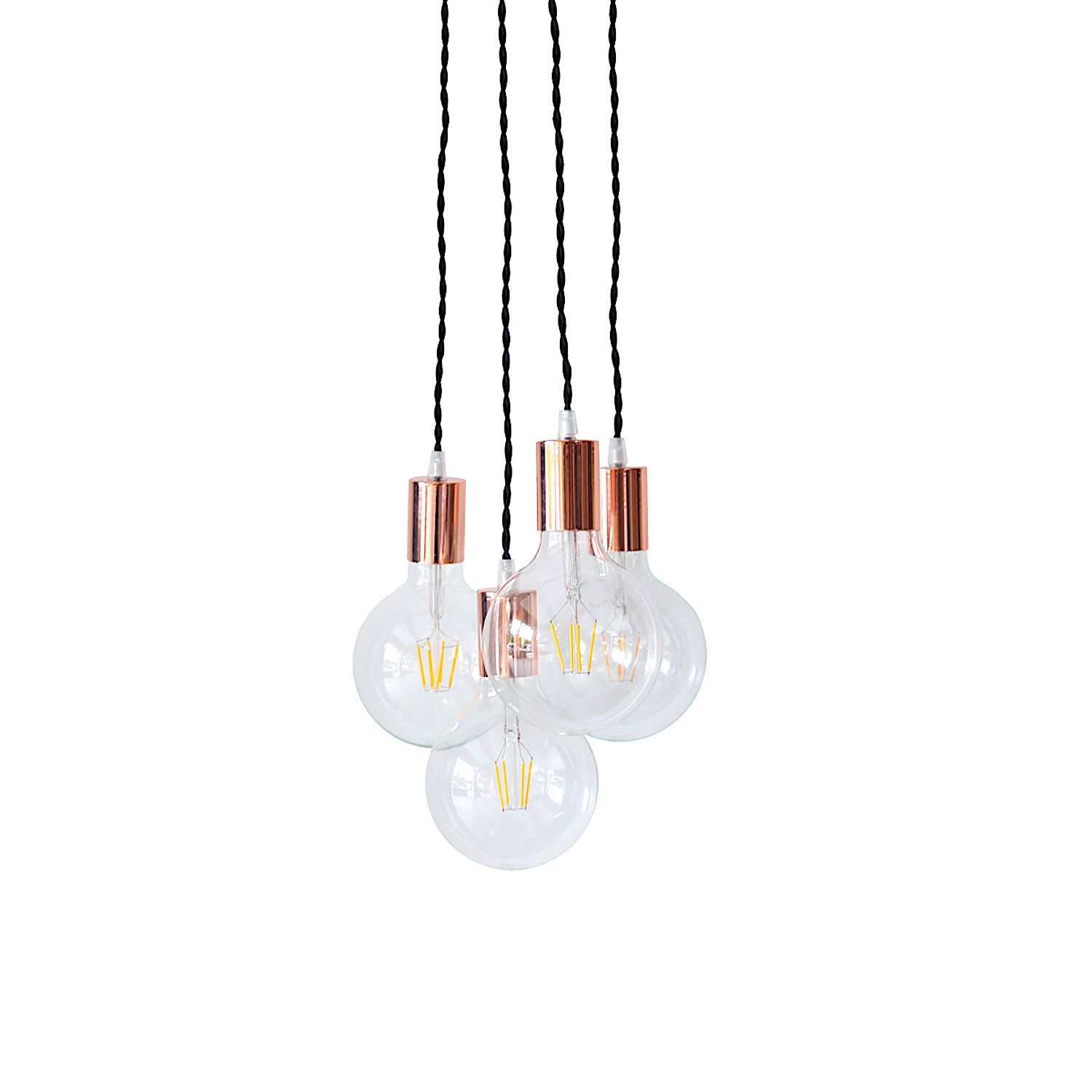 Copper Chandelier Light Cluster Rose Gold Pendant Lighting Swag