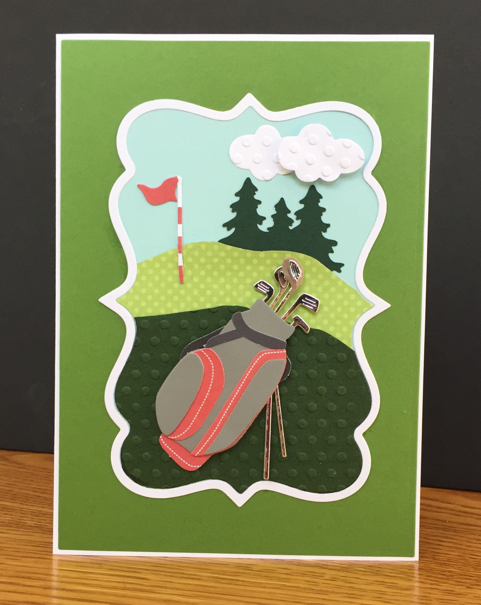 Golf Theme Handmade Happy Fathers Day Mothers Or Birthday Card Course 3D Bag Clubs For Lover By TreasureIslandCards On Etsy