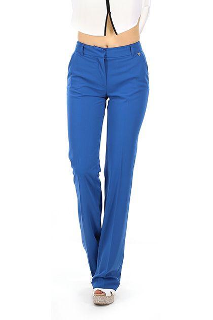 TWIN-SET SIMONA BARBIERI - Pantaloni - Abbigliamento - Pantaloni in viscosa elasticizzata con chiusura a gancetto. Passanti per cintura. Tasche laterali ed a filetto sul retro.  La nostra modella indossa la taglia /EU XS. - BLUE - € 100.00