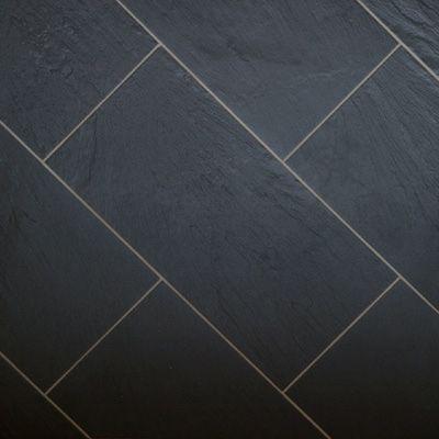 Black slate tile black slate tile effect vinyl flooring for Black tile effect vinyl flooring