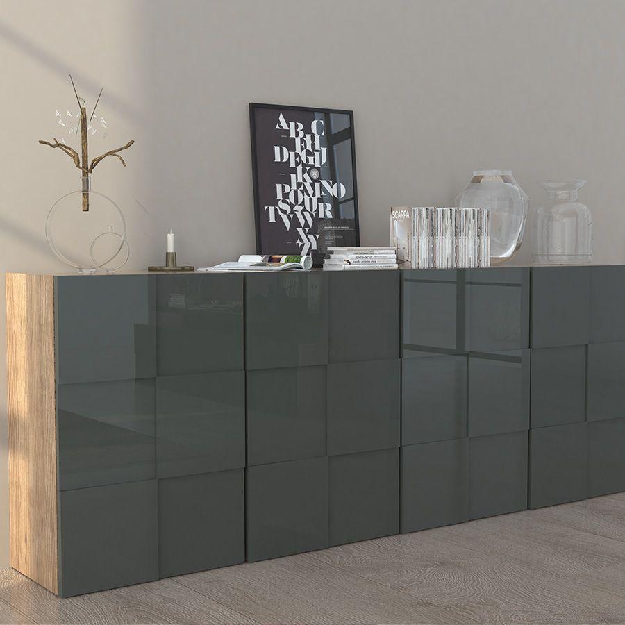 Bahut Moderne 4 Portes Gris Laqu Et Couleur Bois Novelo 2  # Meuble Buffet Rustique Bois Clair