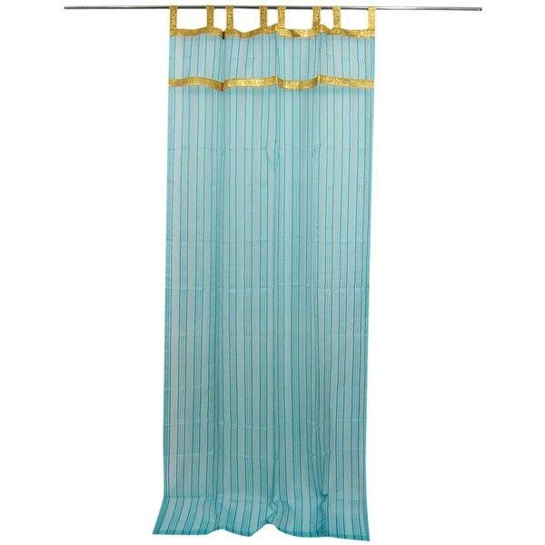 2 Sari Curtains Sheers Turquoise Stripes Window Panels Gold Tab