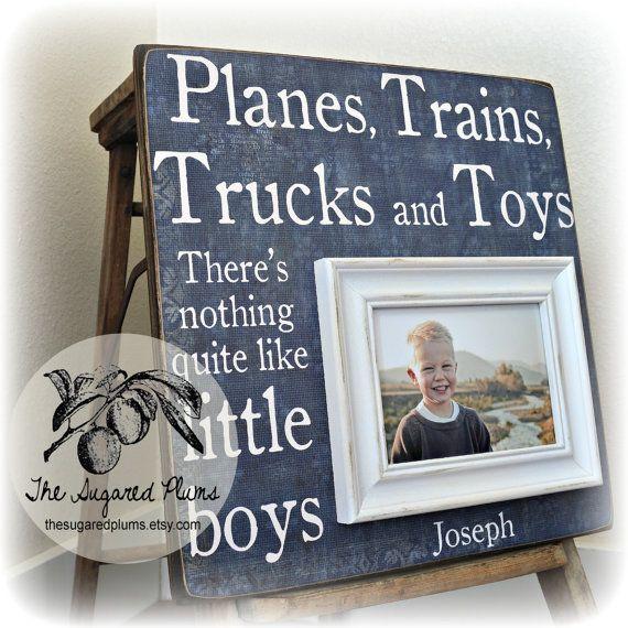 Baby Boy First Birthday Gift Personalized Godson Godchild Baptism Planes Trains Trucks Toys Little Boys 16x16 On Etsy 7500
