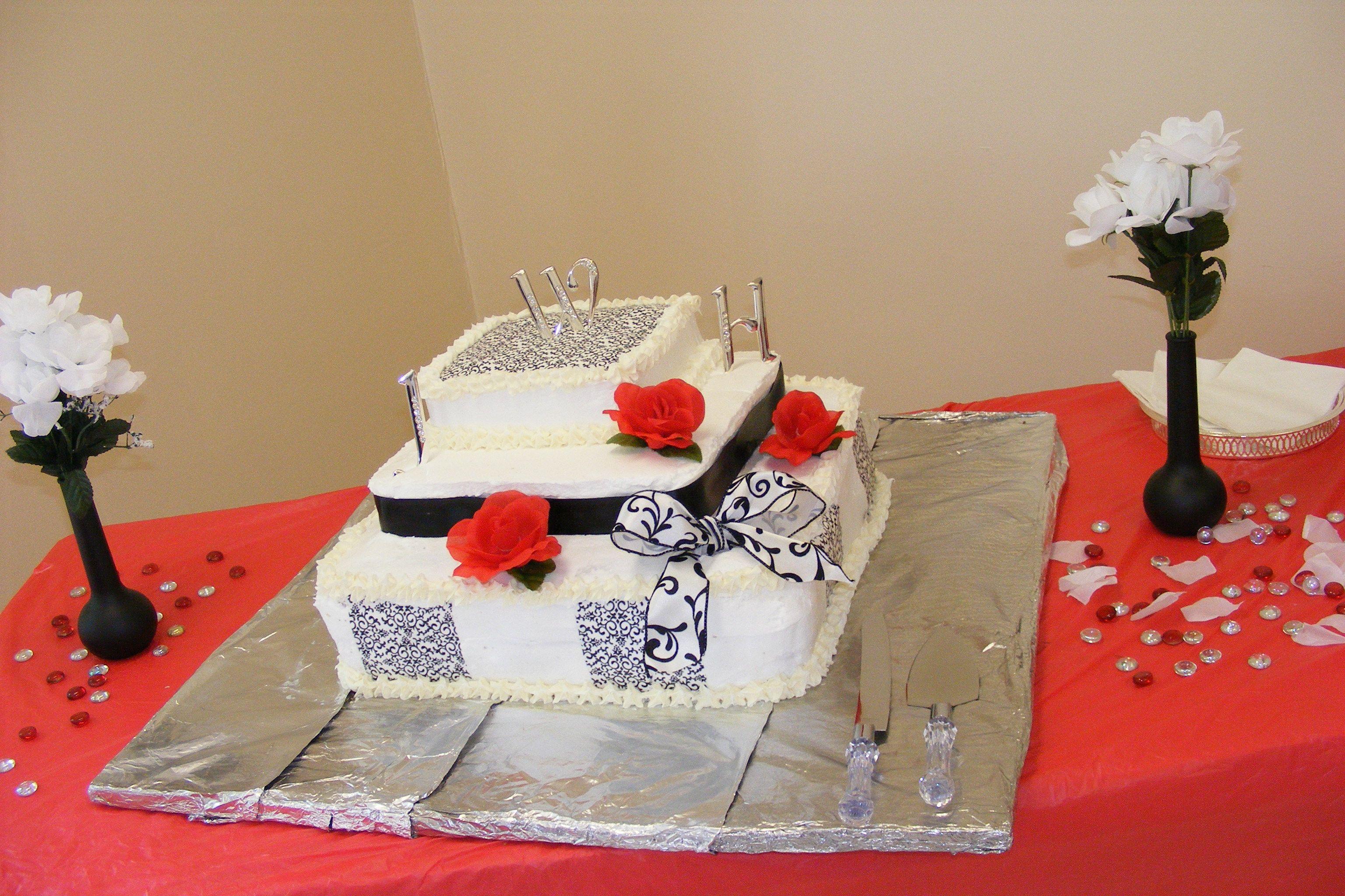 Wedding cake wilton sugar sheets ribbon square cake