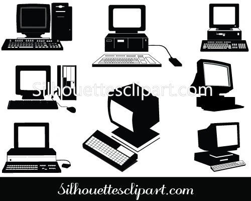 Old Computers Silhouette Clip Art Pack Silhouette Clip Art Clip Art Old Computers