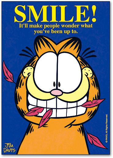 A Smile Makes Them Wonder 4 Up Laser Card Garfield Smile How To