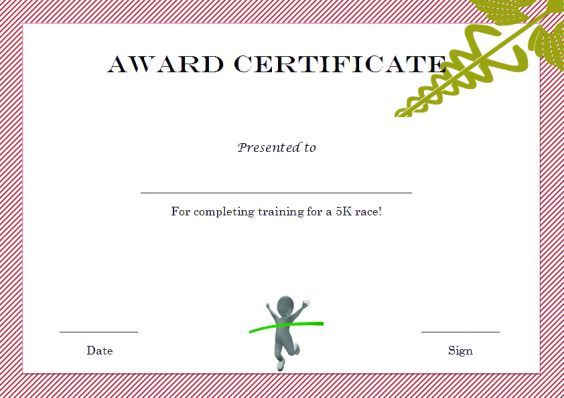 5k_winner_certificate_template Winner Certificate Templates - award of excellence certificate template