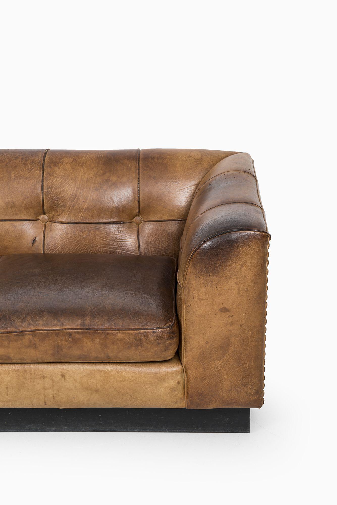 Arne Norell Cognac Brown Buffalo Leather Sofa At Studio Schalling