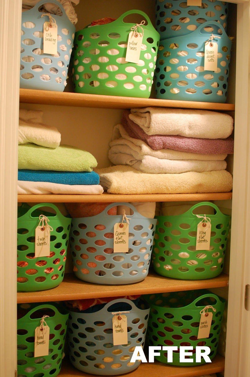 $10 linen closet redo  #Organize the linen closet on the CHEAP