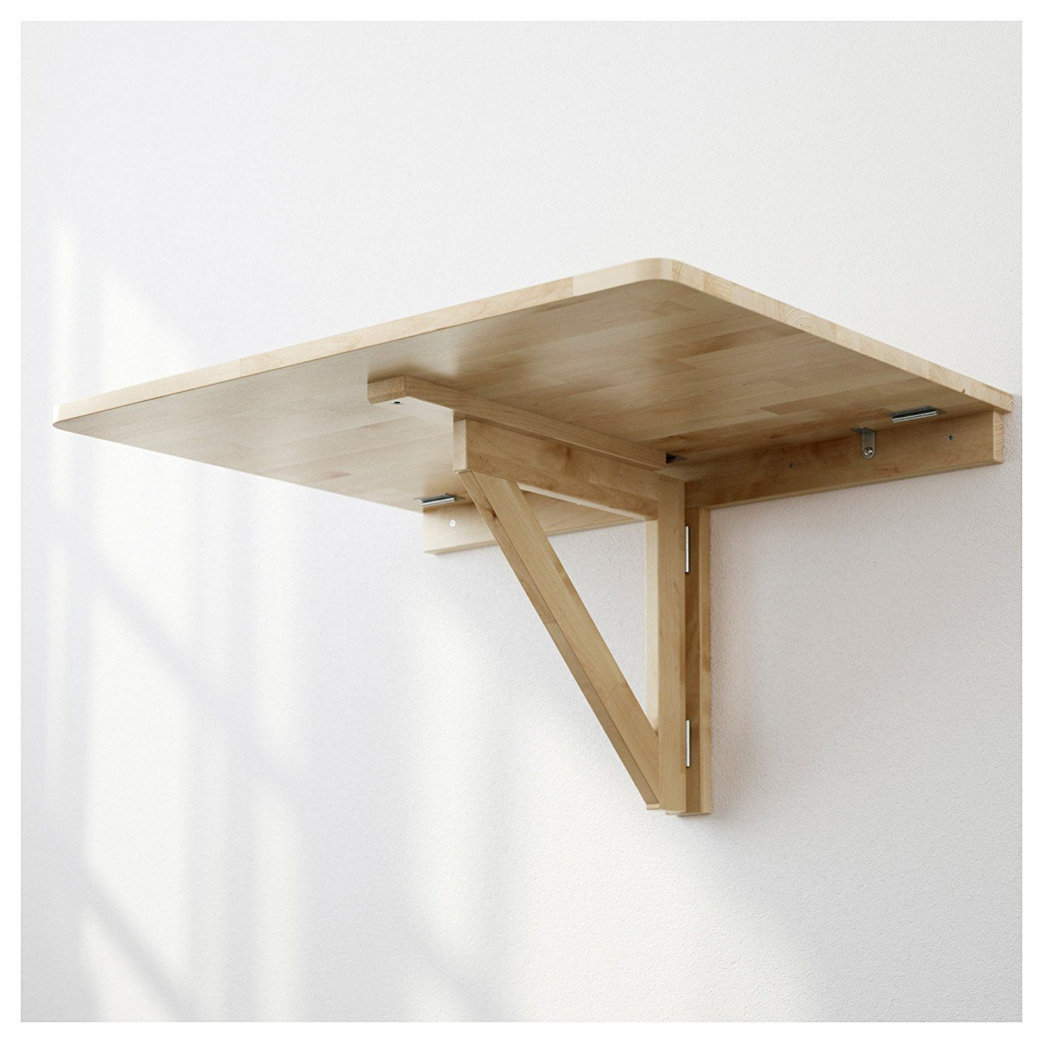 Ikea Norbo Solid Birch Wall Mounted Drop Leaf Bar Table Drop