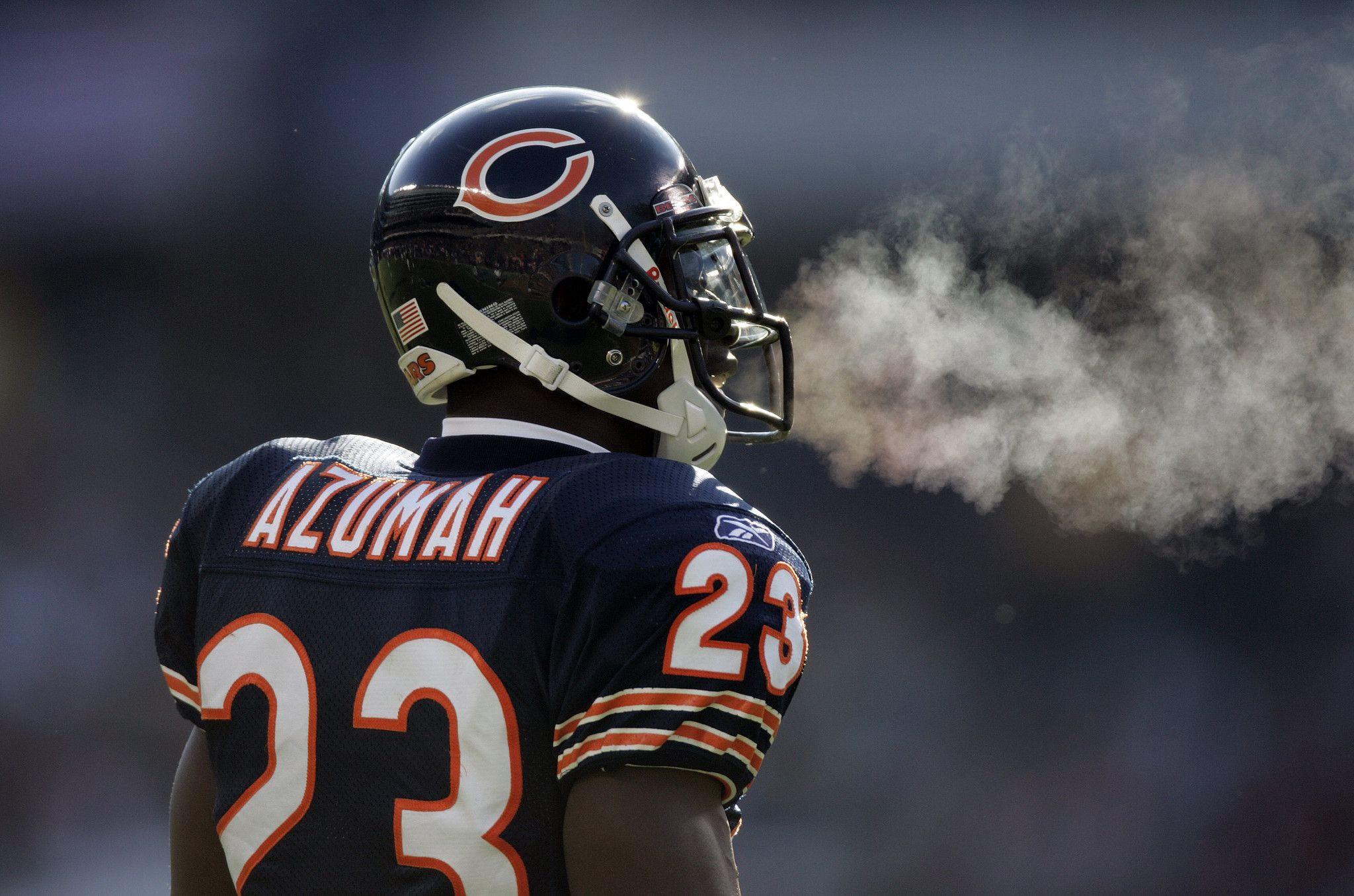 Jerry Azumah Football helmets, Chicago bears, Bear photos