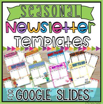 Editable Newsletter Templates In Google Slides Bundle Digital Newsletter Templates Newsletter Templates Editable Newsletter Templates