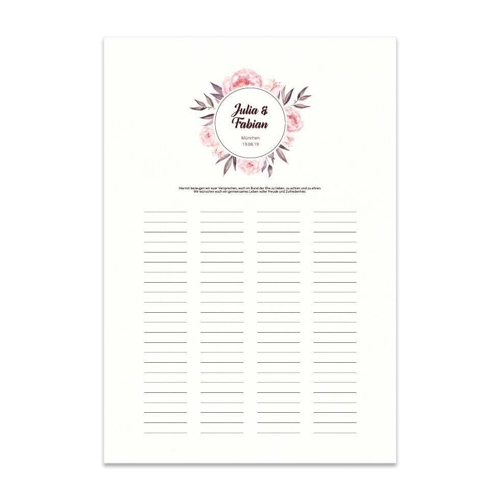 Trau-Urkunde und Gästebuch zur Hochzeit: Wir bezeugen