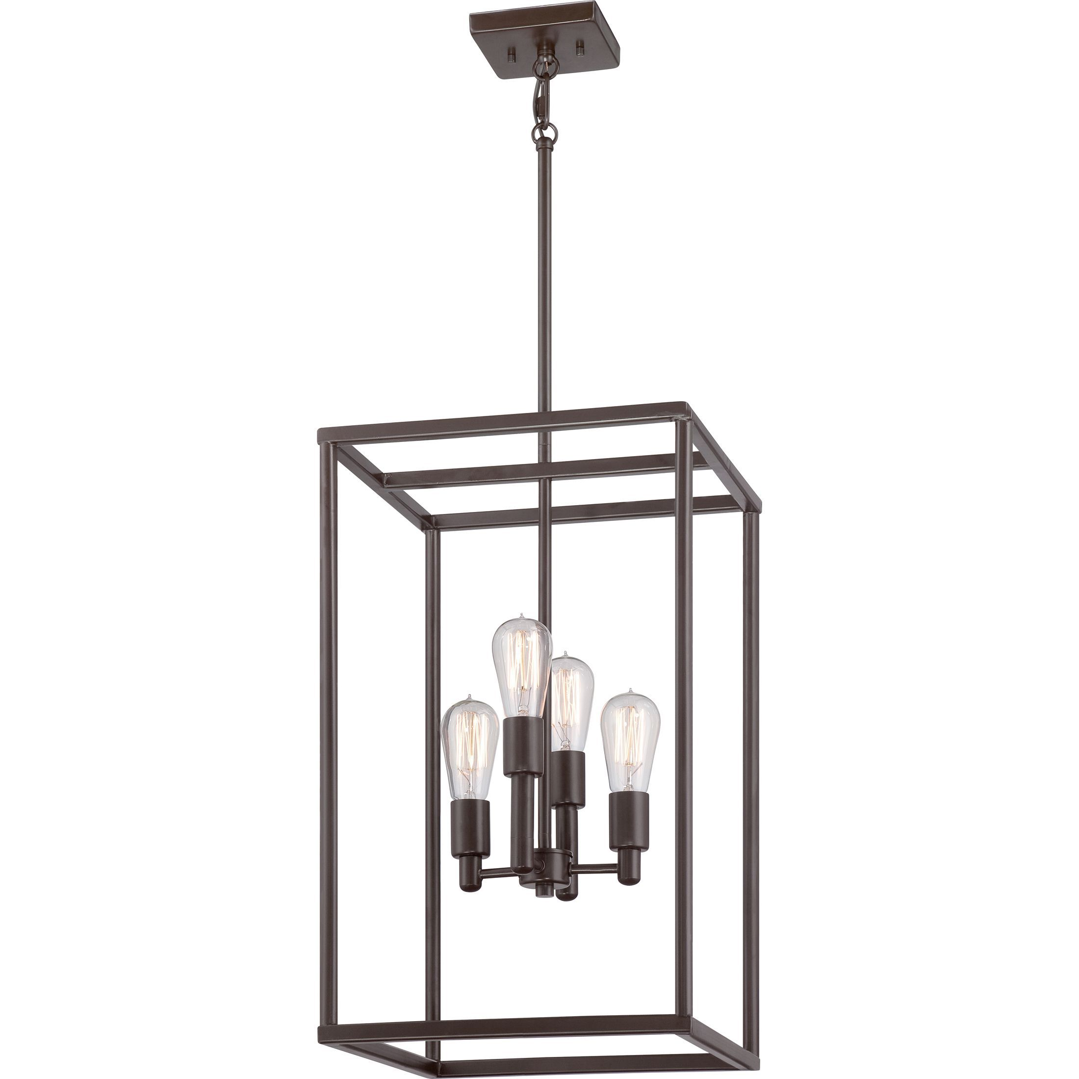 Quoizel new harbor 4 light western bronze cage chandelier foyers arubaitofo Image collections