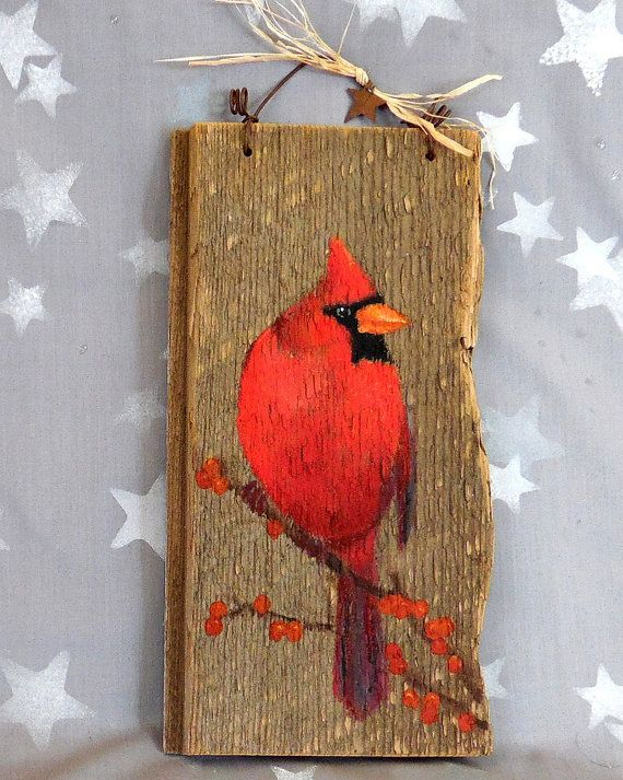 """Red Bird, cardinal, authentic barnwood, rustic, hand painted, 11"""" x 3 1/2"""""""