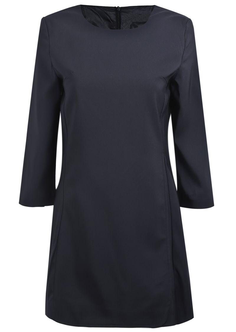 Black long sleeve simple design ruffle dress us sheinside