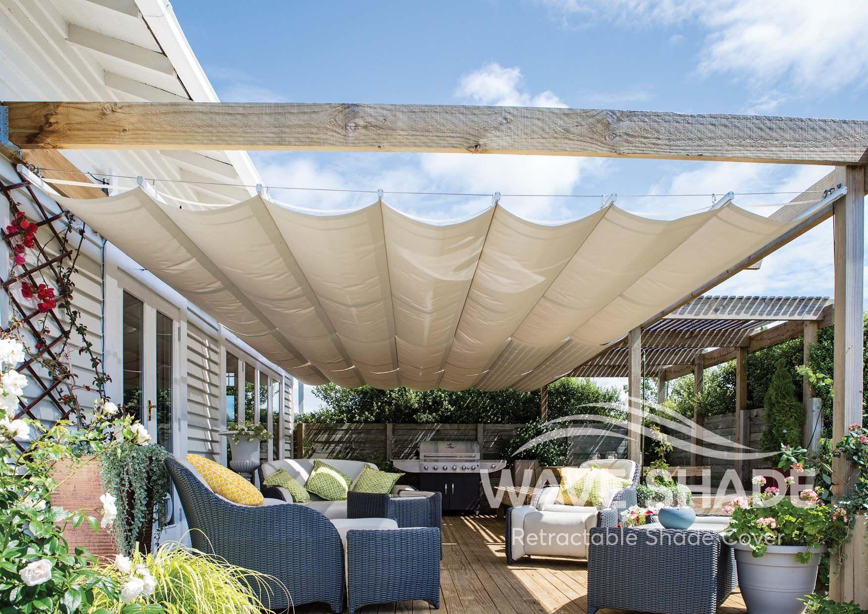New Wave Shade Version 3 Retractable Shades New Product Custom Size Commercial Quality Napady Na Terasy Zahrada Terasa