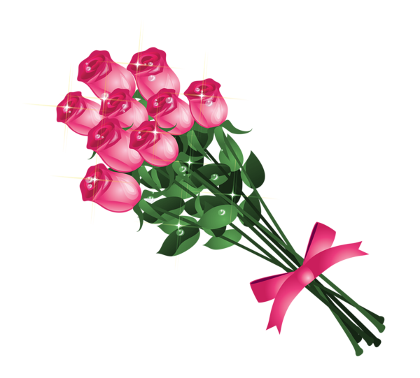 Transparent Pink Roses Bouquet Png Clipart Picture Pink Rose Bouquet Digital Flowers Flower Drawing