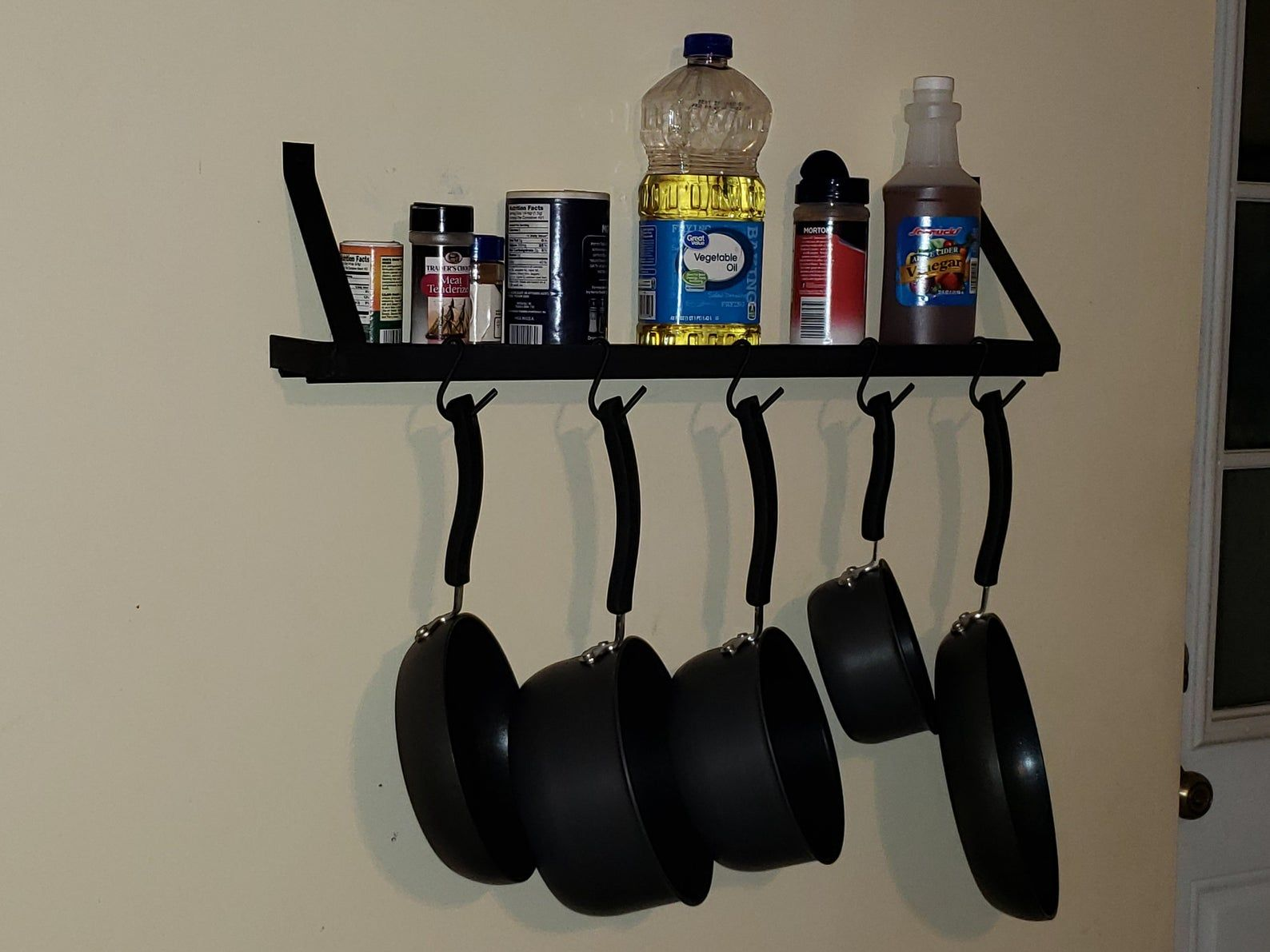 Handmade Single Level Wall Mounted Pot And Pan Rack With Shelf Etsy Pots And Pans Pot Rack Walnut Stain