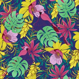 Hot Tropics Paradise Bird by Jacqui Slade Seamless Repeat Vector Royalty-Free Stock Pattern #tropicalpattern