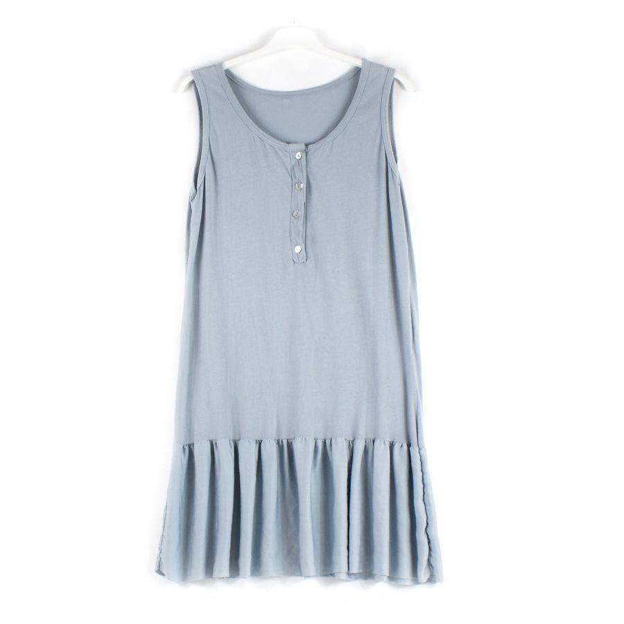 Vestido gris de algodón con la parte inferior de la flada tipo sedoso. Talla única.