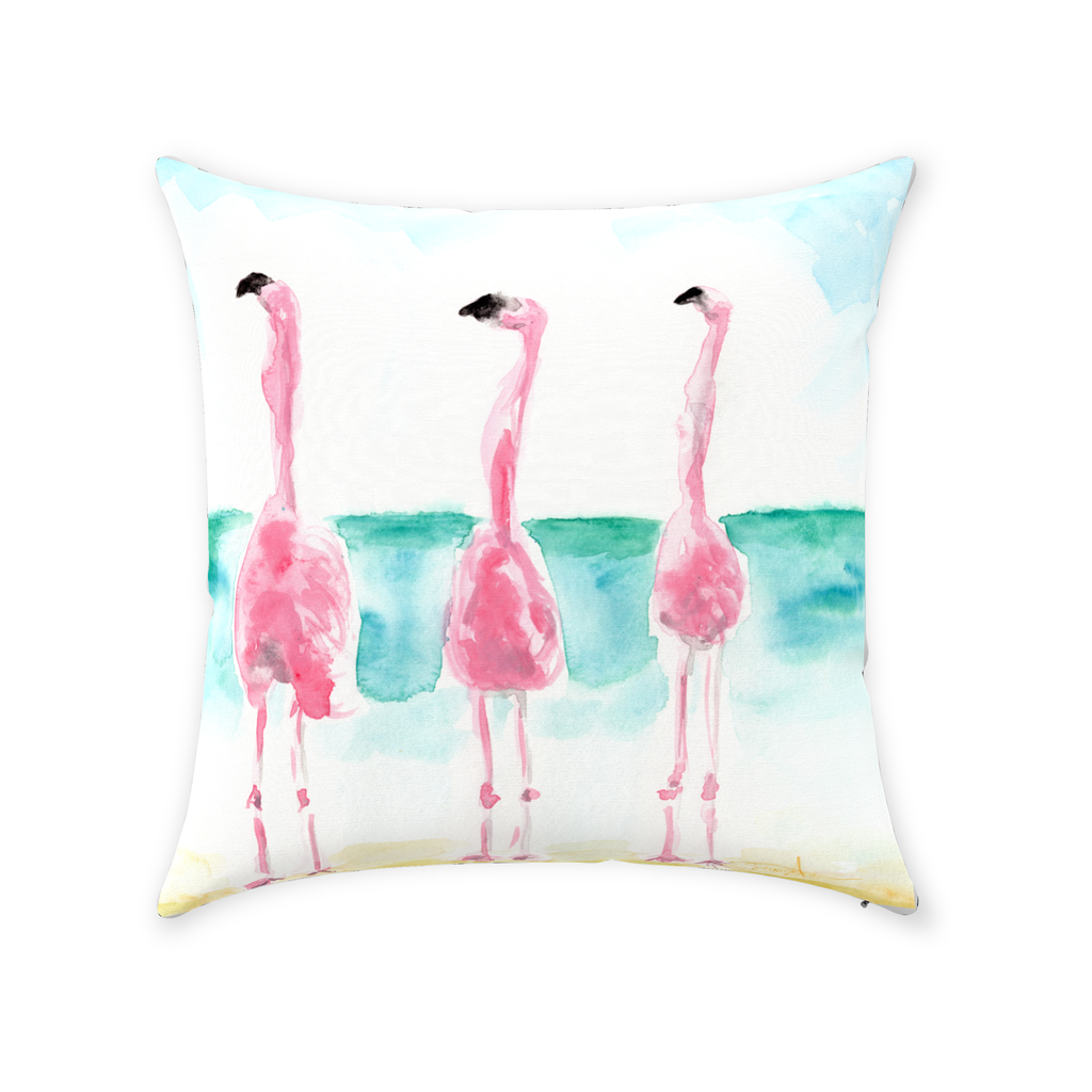 Make your friends jealous with these fabulous trio of flamingos on your sofa or chair! And what a surprise to find on the back, #thinkpink! A quote I'm sure you'll love!