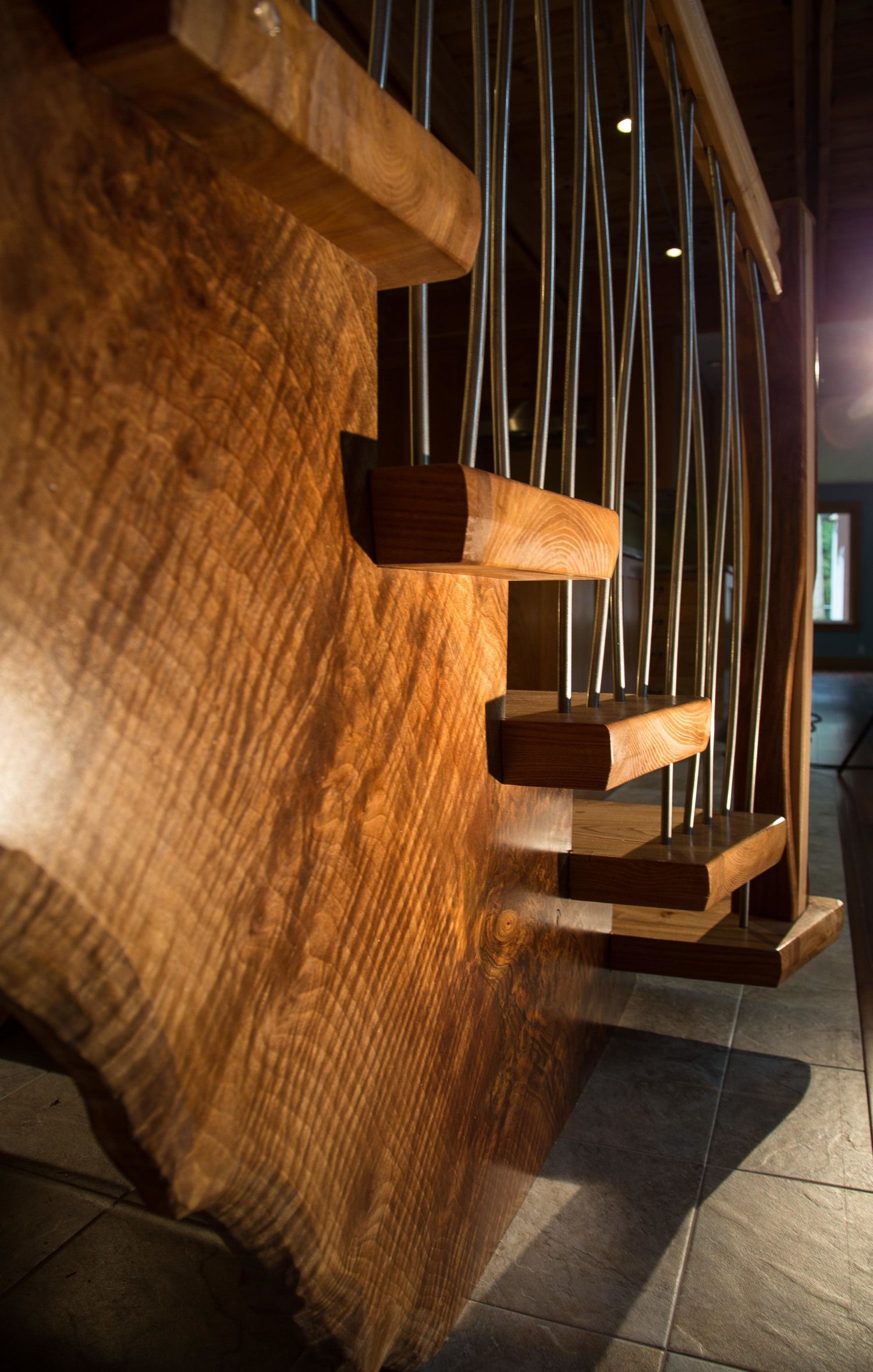 Best 2015 Award Winner Mountain View Custom Stairs With Live Edge Black Walnut Stringers And Elm 400 x 300