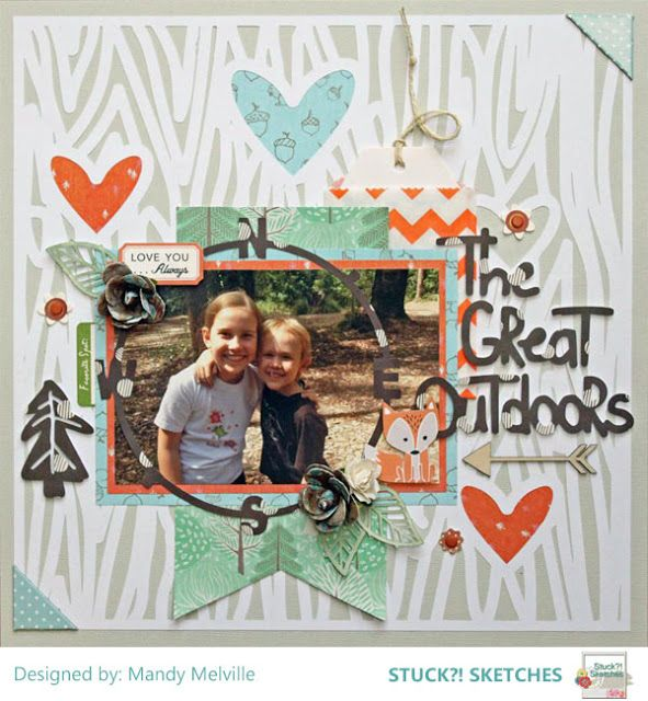 """""""The Great Outdoors"""" by Mandy Melville uses """"Happy Camper"""", """"Wood You Be Mine"""", and """"Funky Florals"""" cut files from The Cut Shoppe."""