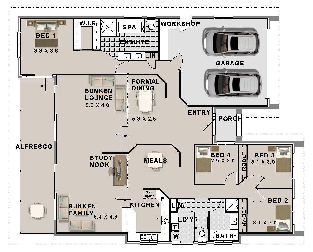 272 M2 4 Bedroom House Plans Double Garage Home Plans Etsy 4 Bedroom House Plans House Plans Floor Plans