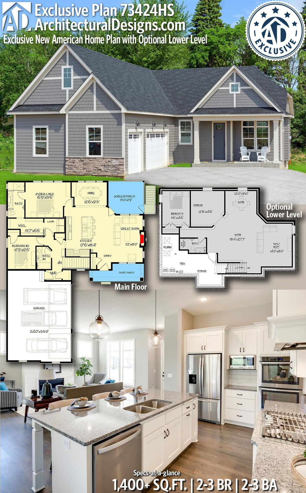 Architectural Designs New American Home Plan 73424hs Gives You 2 3 Bedrooms 2 3 Baths And 1 40 Craftsman House Plans House Plans Multigenerational House Plans