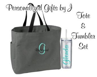 2 Bridesmaid Gifts Tote And Tumbler Bridesmaids Gift Wedding Set Personalized Bachelorette Party