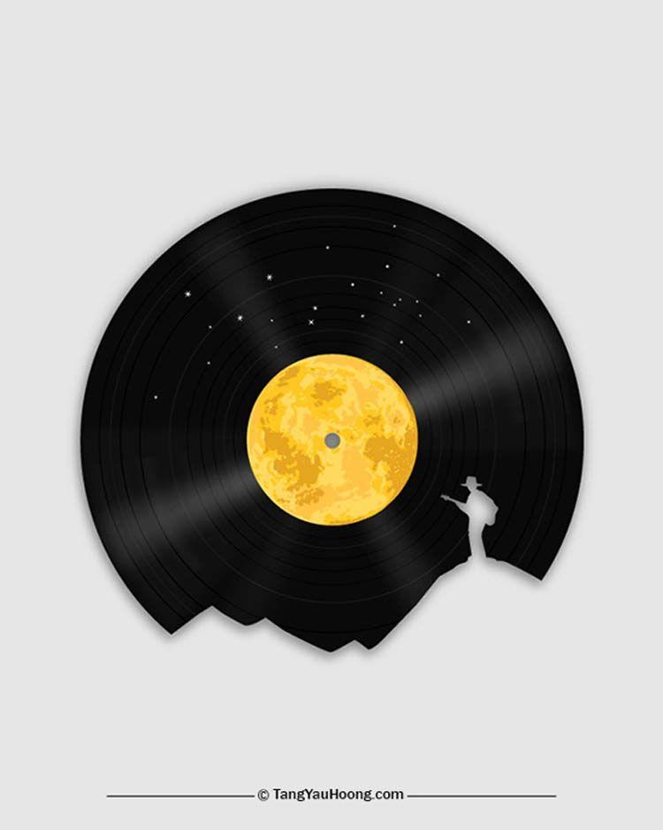 Space Vinil Player Original Art T-Shirt