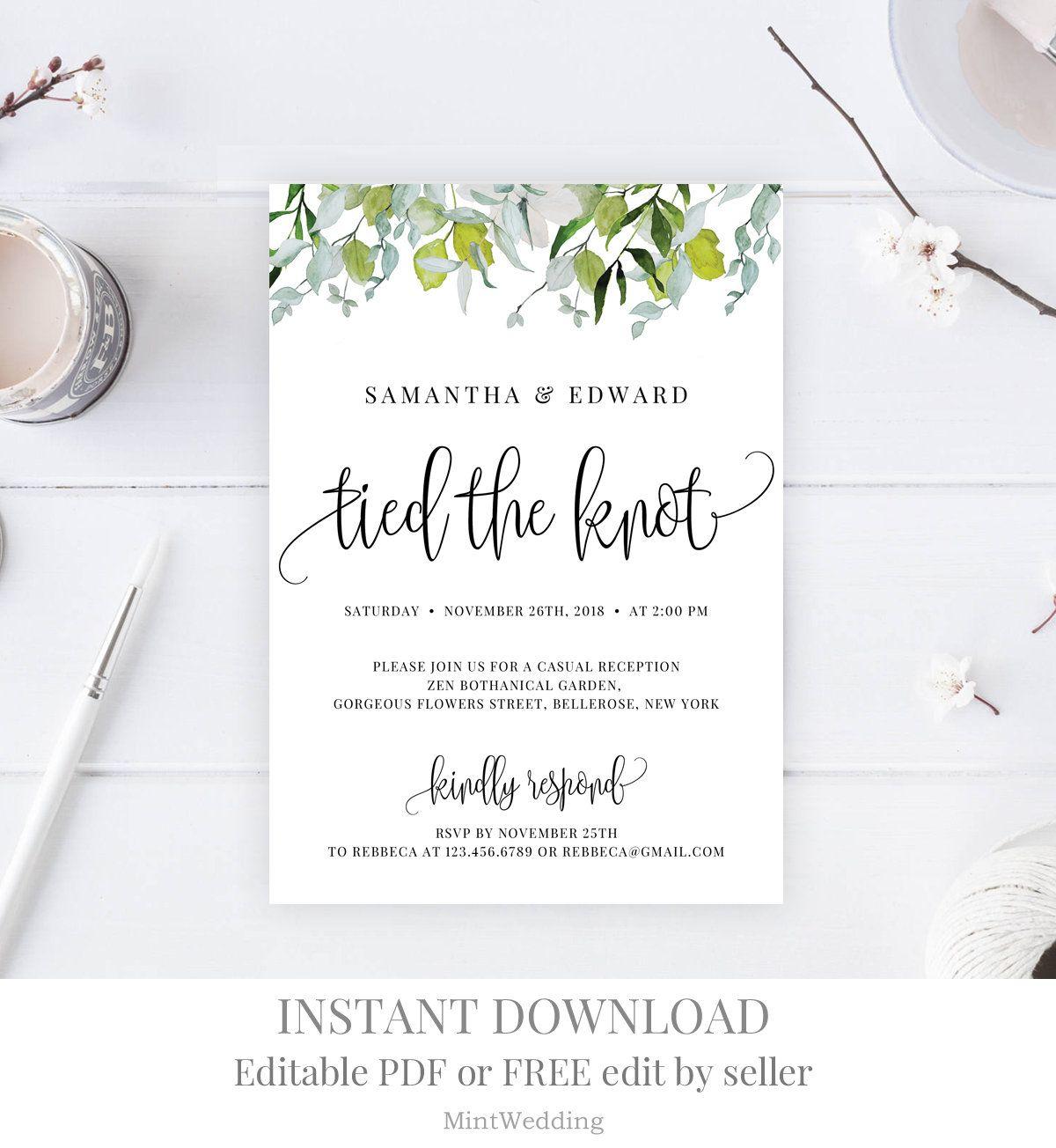 Greenery Wedding Announcement Invitation, Printable Tied