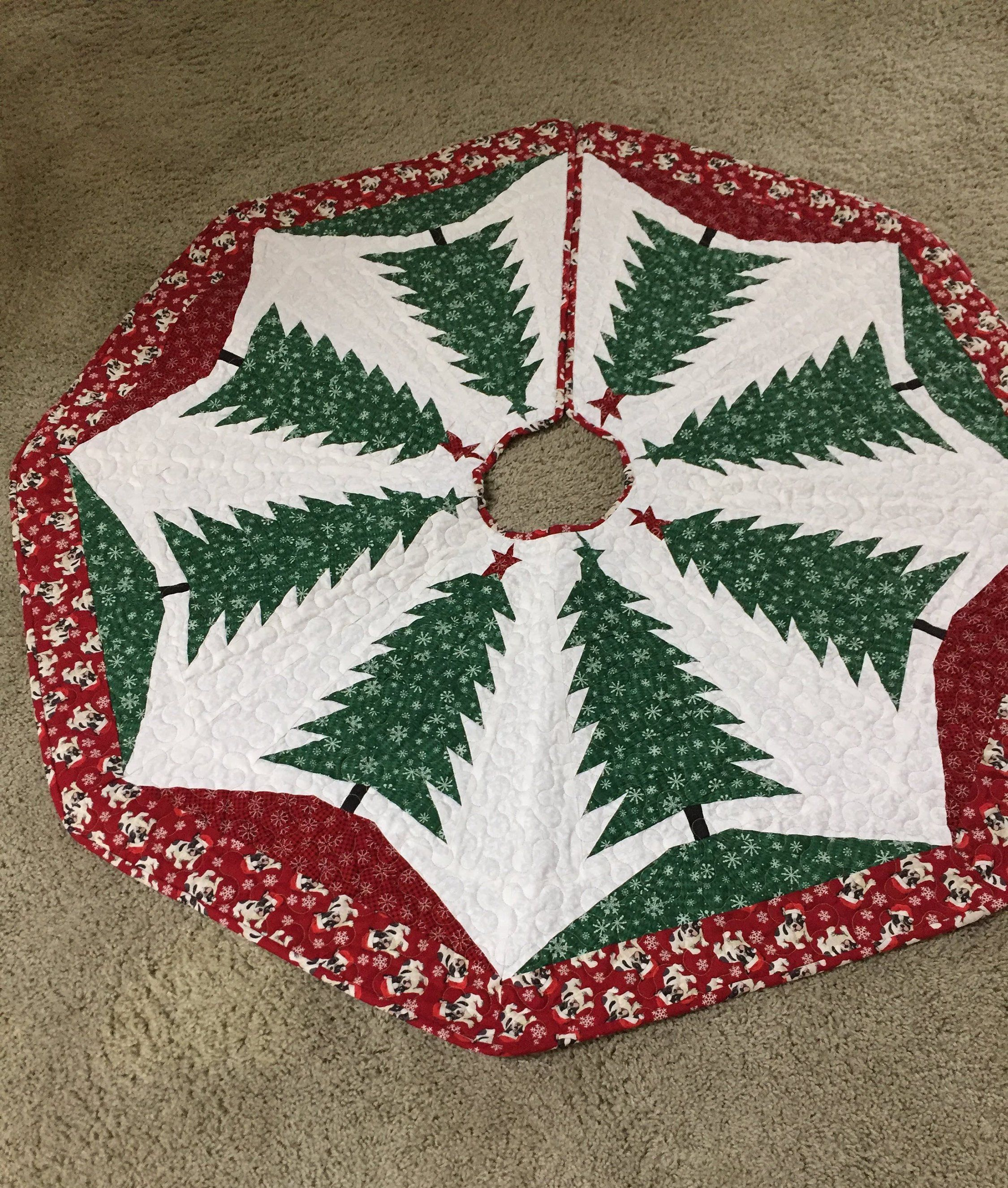 Christmas Tree Skirt Reversible Quilted Ayrlooms1
