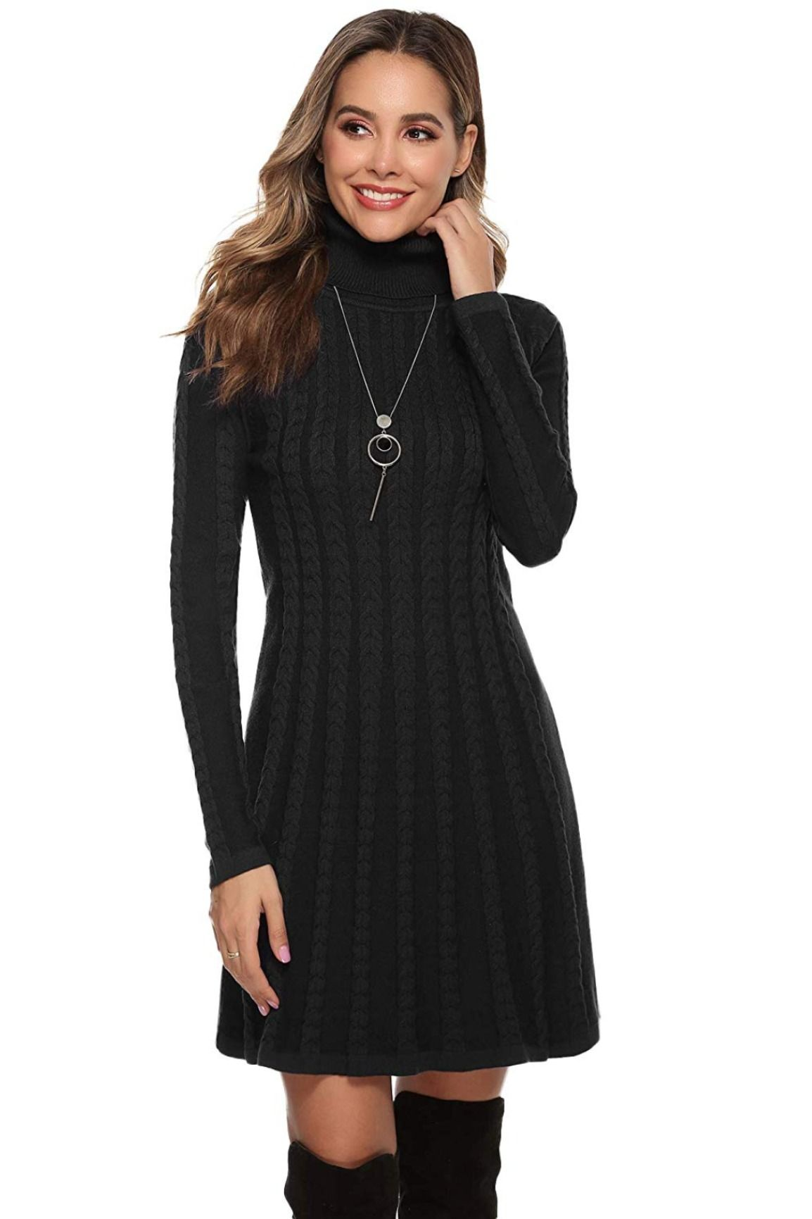strickkleid - pulloverkleid mit zopfmuster | strickkleid