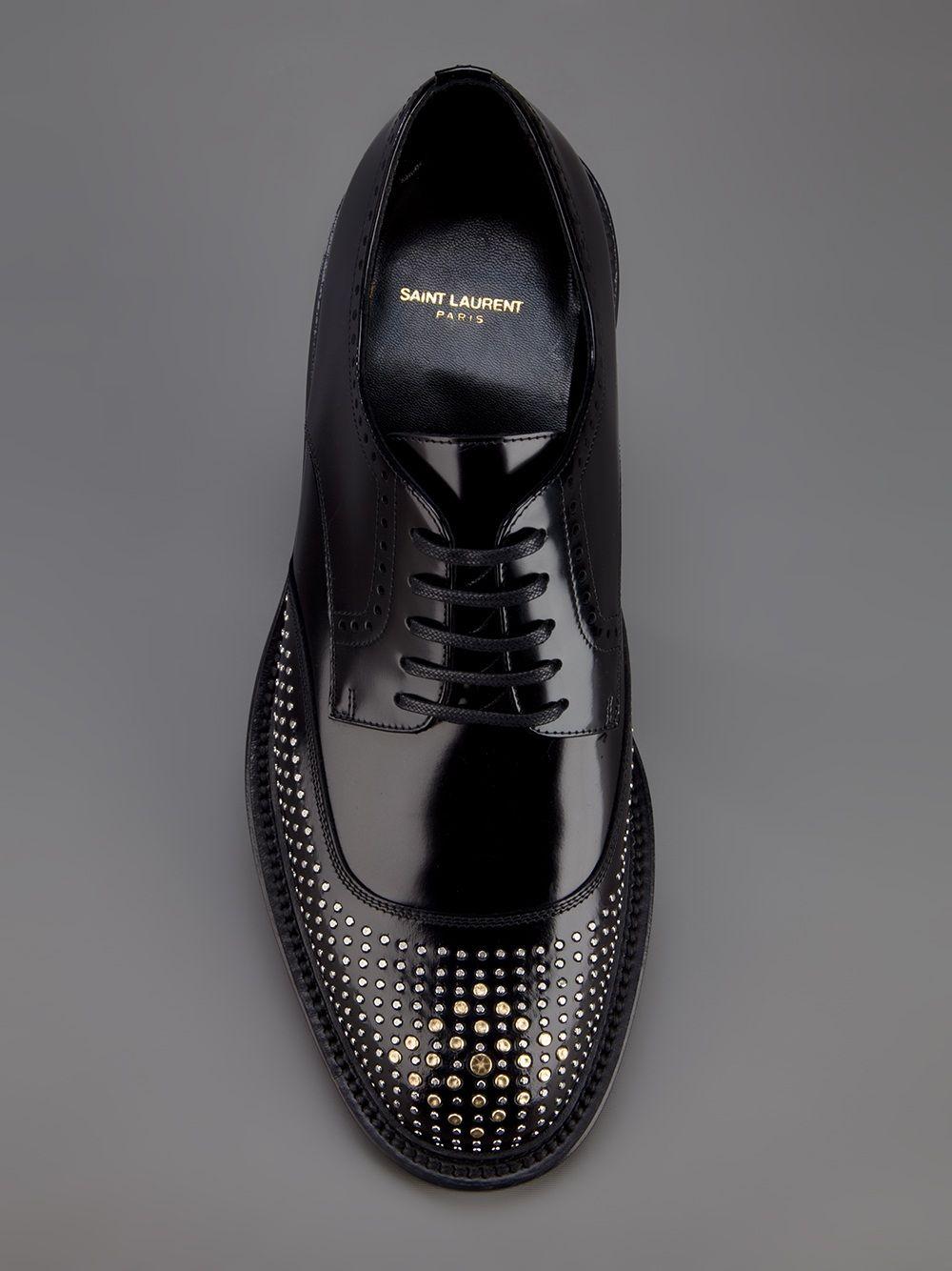 Saint Laurent Studded Derby Shoe Farfetch Com Dress Shoes Men Mens Shoes Boots Fashion Shoes [ 1334 x 1000 Pixel ]