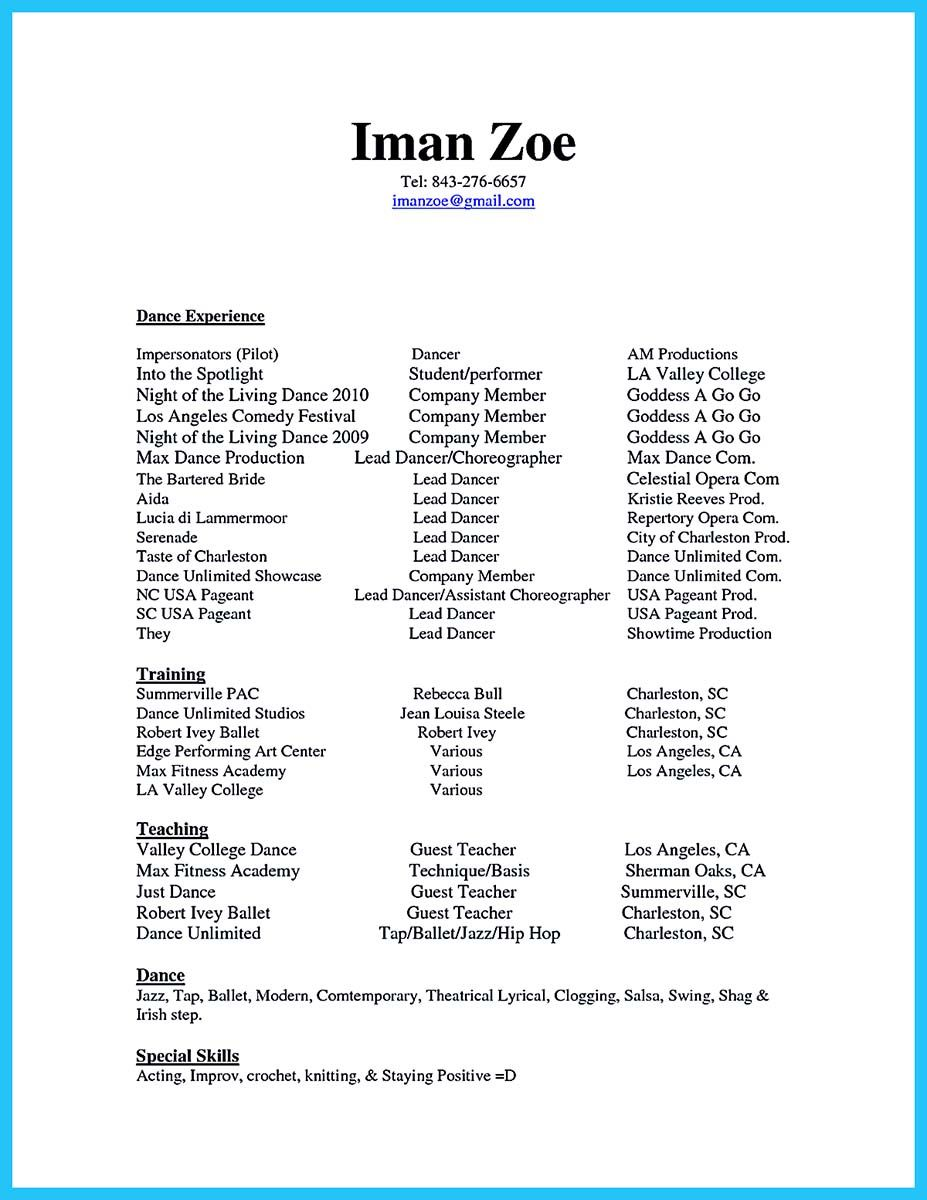 Awesome The Best And Impressive Dance Resume Examples Collections Dance Resume Teacher Resume Examples Resume Examples